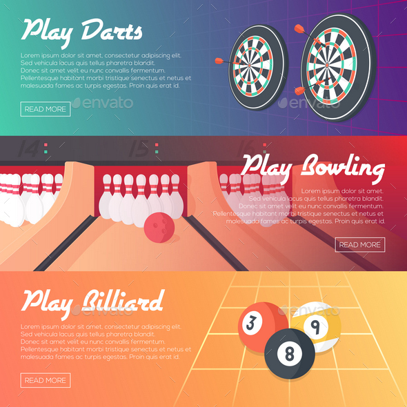 3 Casino Banners - Sports/Activity Conceptual