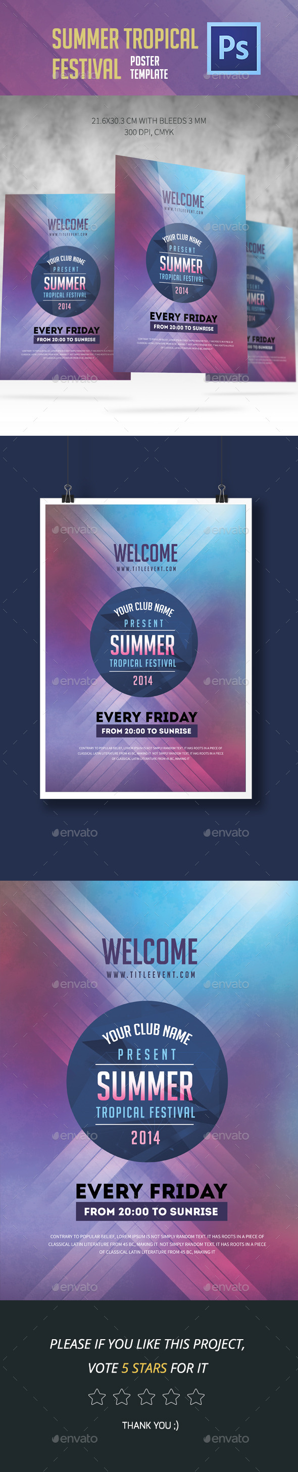 Summer Tropical Festival Flyer - Clubs & Parties Events
