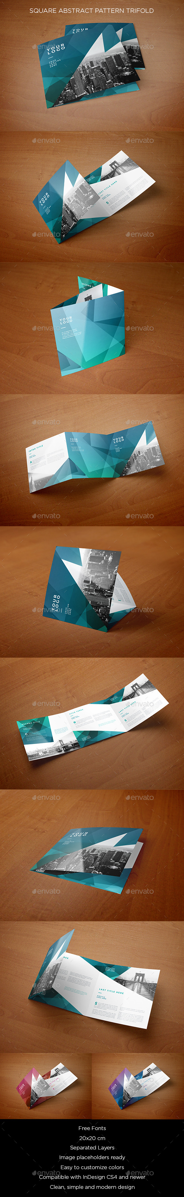 Square Abstract Pattern Trifold - Brochures Print Templates