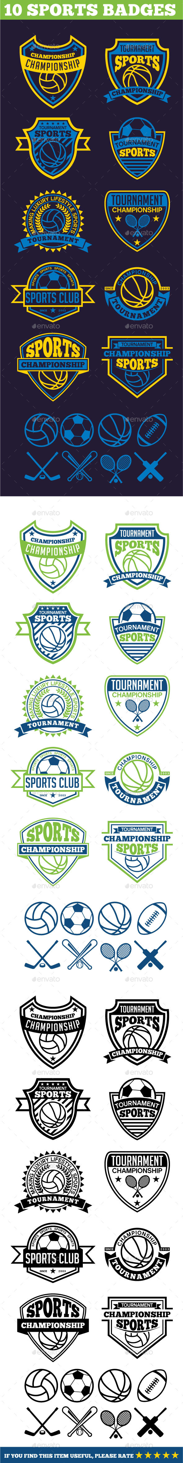 10 Sports Badges - Badges & Stickers Web Elements