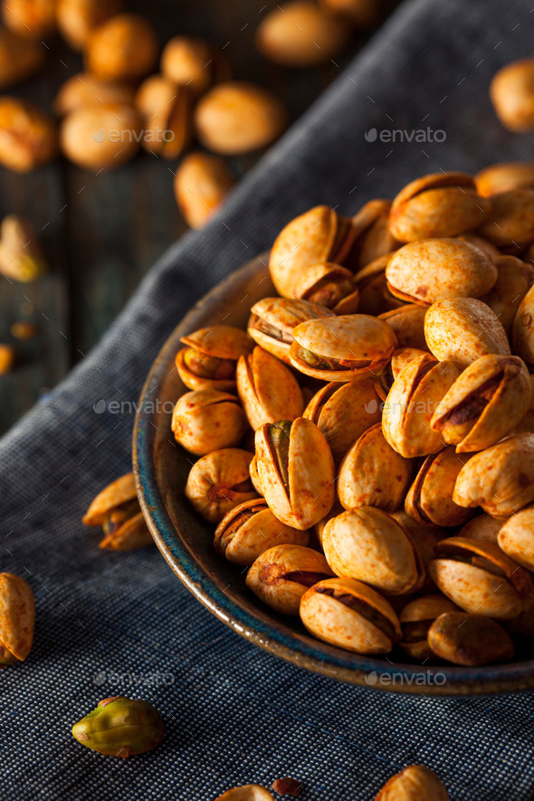 Spicy BBQ Chipotle Pistachios - Stock Photo - Images