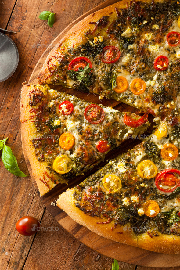 Homemade Grilled Pesto Pizza - Stock Photo - Images