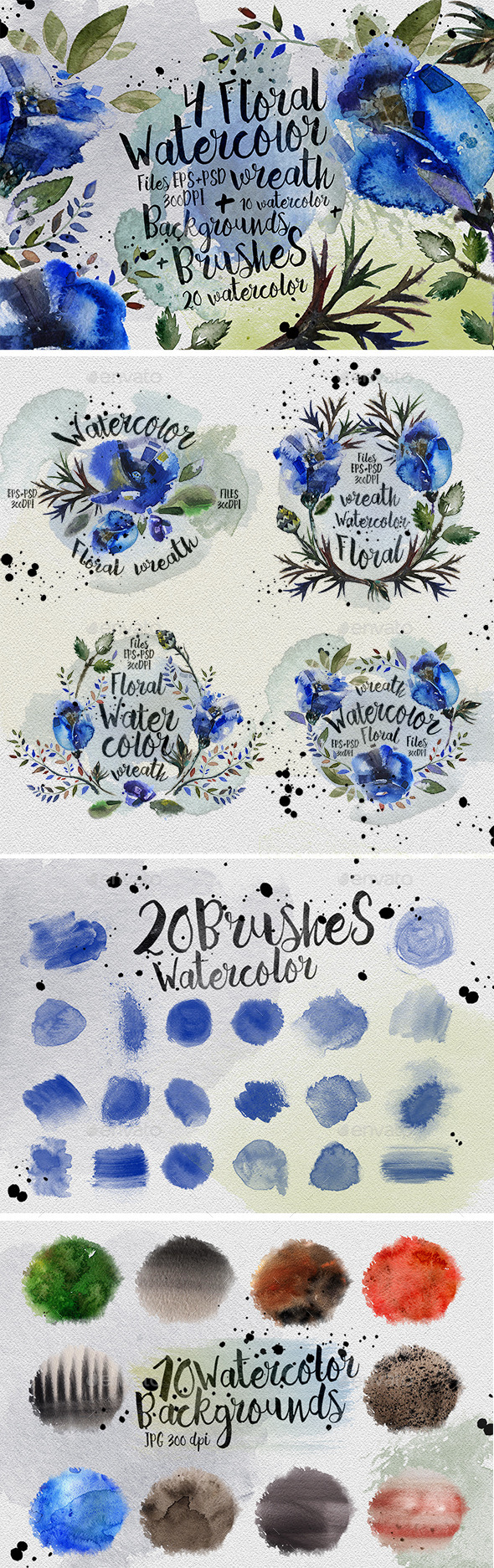 Floral Watercolor Wreaths - Flourishes / Swirls Decorative