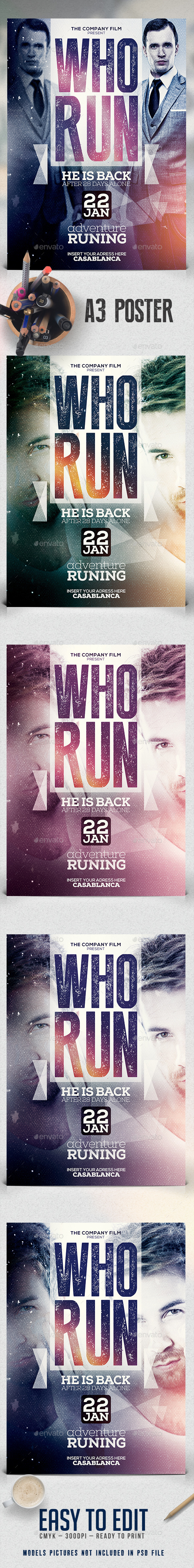 A3 Who Run Poster Film Template - Miscellaneous Events