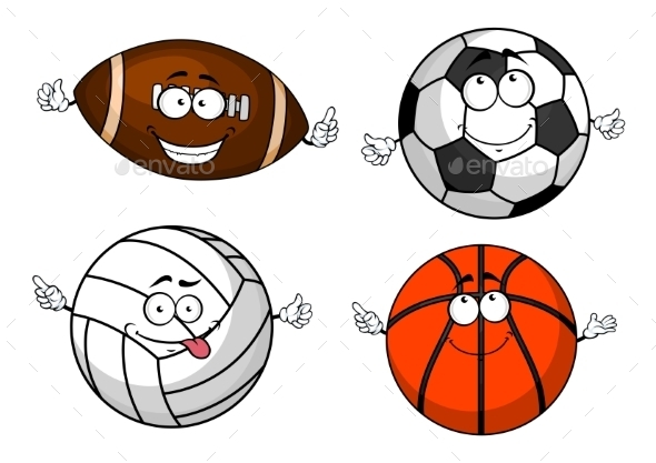 Cartoon Isolated Sport Balls Characters - Sports/Activity Conceptual