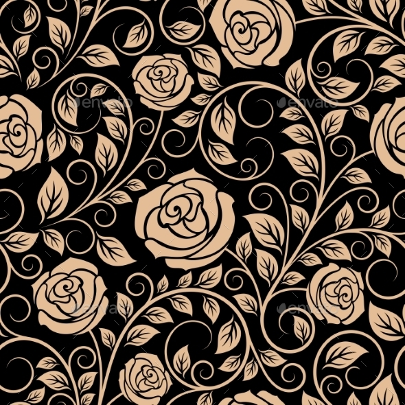 Luxury Floral Seamless Pattern With Blooming Roses - Backgrounds Decorative