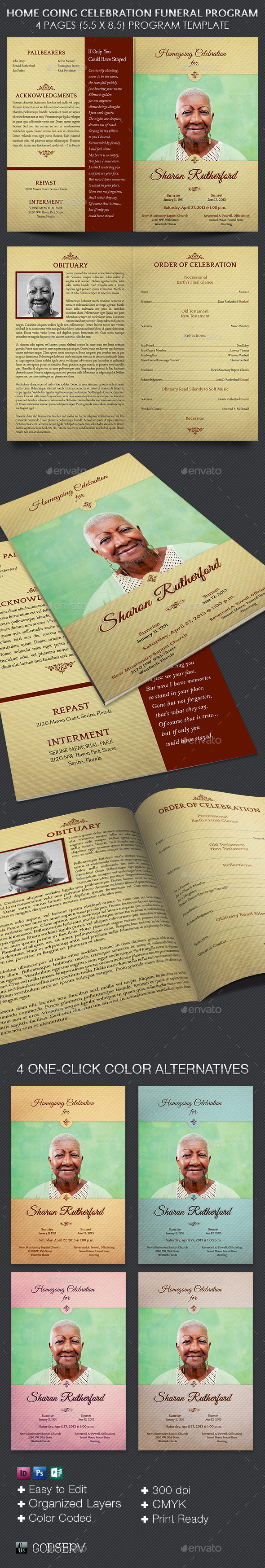 Home Going Funeral Program Template by Godserv – Obituary Program Template