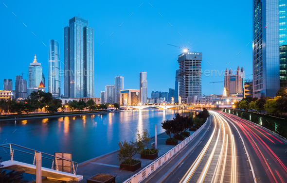 tianjin cityscape at night - Stock Photo - Images