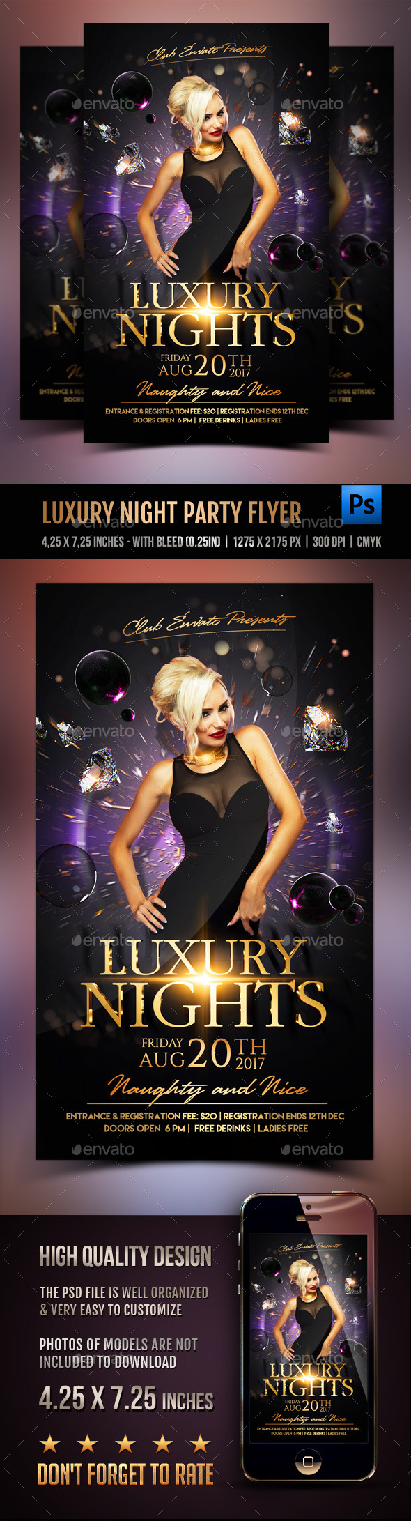 Luxury Nights Party Flyer - Clubs & Parties Events