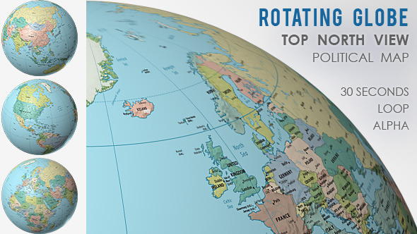 Rotating Globe World Political Map Top View By Vf Videohive