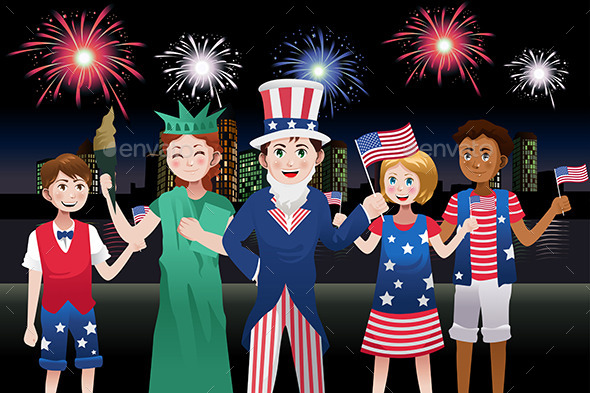 Kids Celebrating Fourth of July - Seasons/Holidays Conceptual