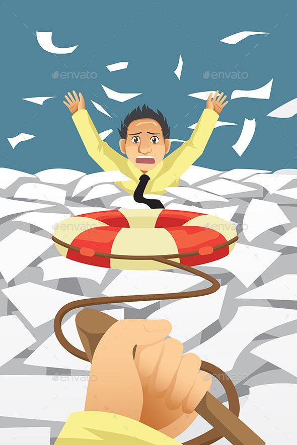 Businessman Given Help - Concepts Business