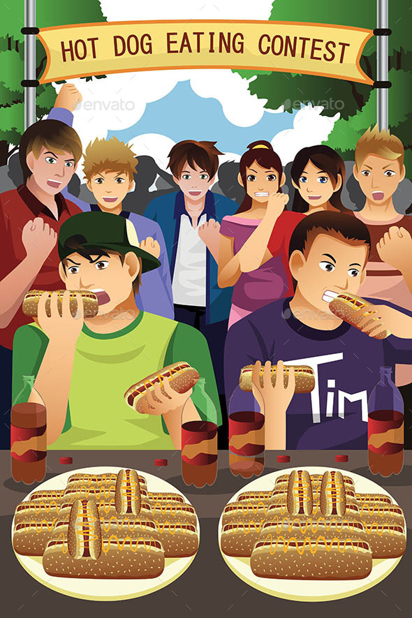 People in Hotdog Eating Contest - People Characters