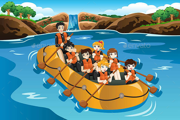 Kids Rafting in a River - Sports/Activity Conceptual