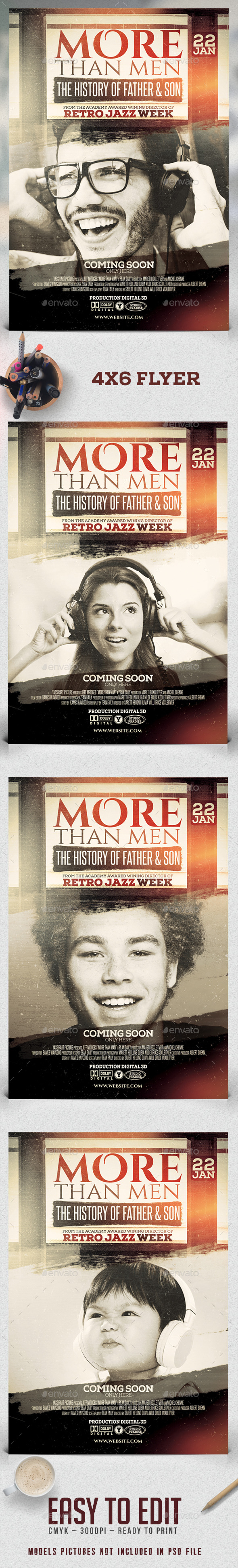 More Than Men Flyer Template - Clubs & Parties Events