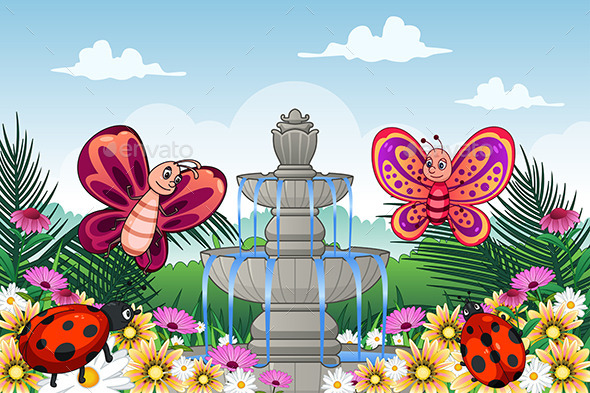 Garden with Cute Animals - Animals Characters