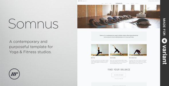 Somnus – Yoga & Fitness Studio Template + Builder