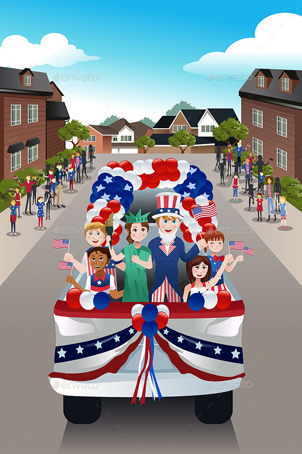 Kids in a Parade Celebrating Fourth of July - Seasons/Holidays Conceptual