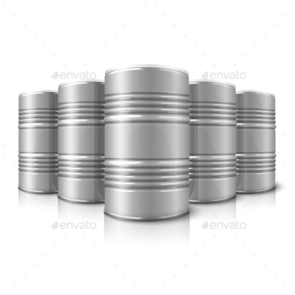 Blank Vector Realistic Big Oil Barrels Isolated - Man-made Objects Objects
