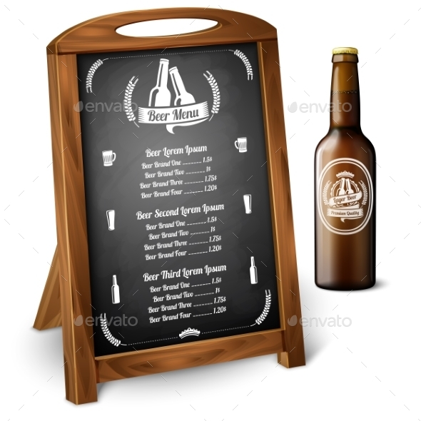 Menu Template On Chalkboard - For Alcohol - Man-made Objects Objects