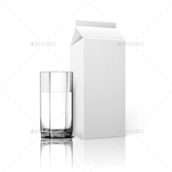 Realistic Blank Paper Package And Glass For Milk - Man-made Objects Objects