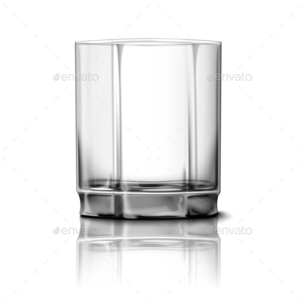 Realistic Vector Glass Isolated With Reflection - Man-made Objects Objects