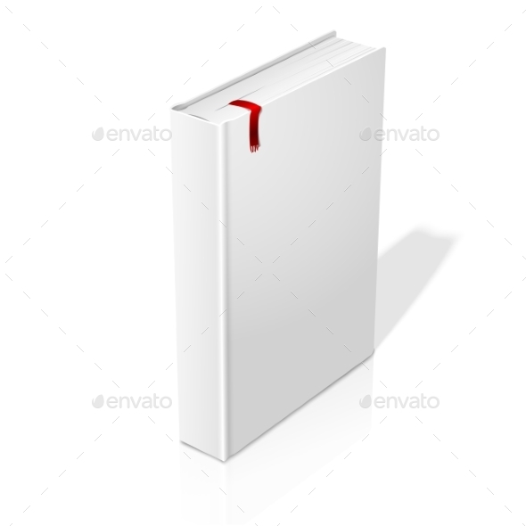 Realistic Standing White Blank Hardcover Book - Man-made Objects Objects
