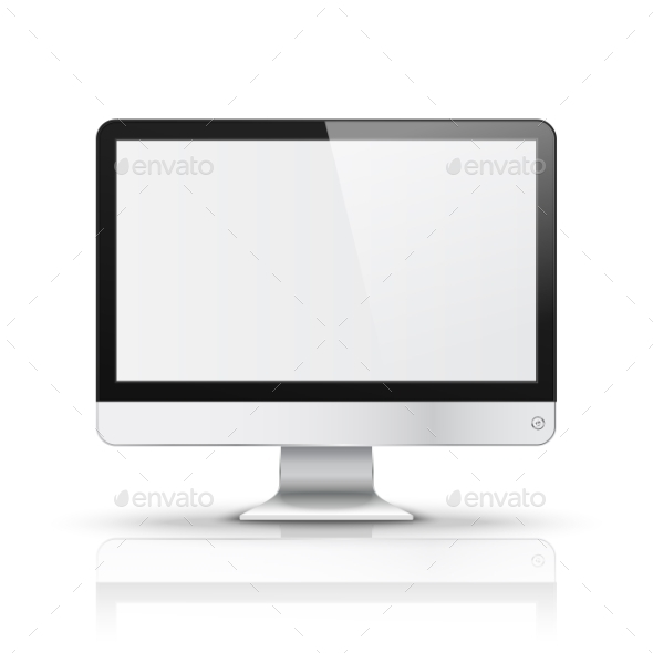 Modern Computer Display With Blank Screen Isolated - Man-made Objects Objects