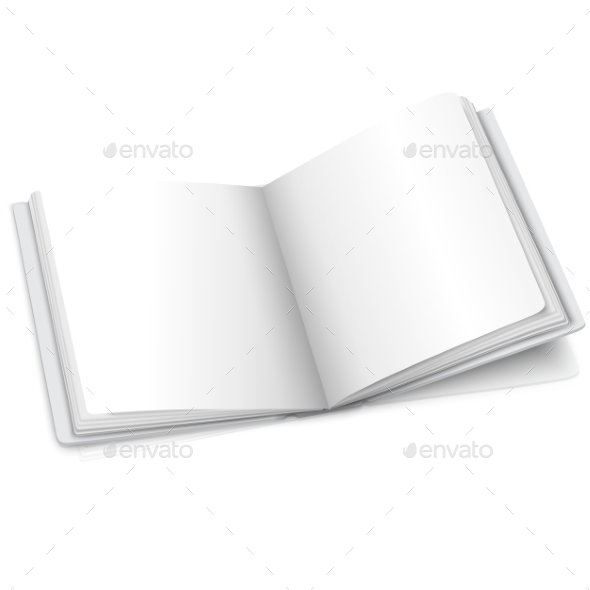 Blank White Vector Opened Book Or Photo Album - Man-made Objects Objects
