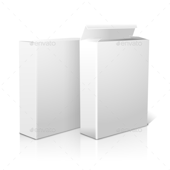 Two Realistic Blank Paper Packages For Cornflakes - Man-made Objects Objects
