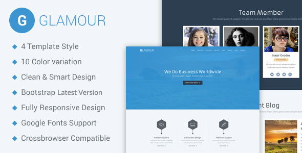 Glamour – Corporate One Page HTML5 Template