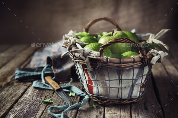 Basket with Apples - Stock Photo - Images