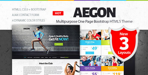 Aegon - Responsive Gym/Fitness Club Template