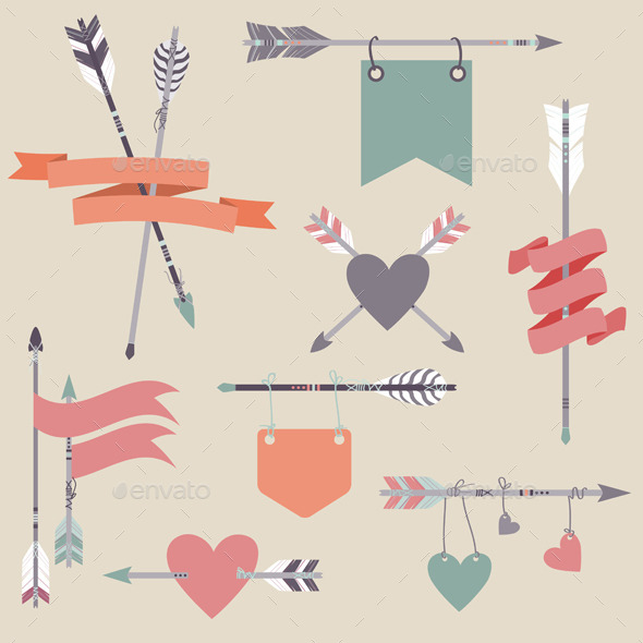 Set with Ethnic Arrows, Ribbons, Flags and Hearts - Decorative Symbols Decorative