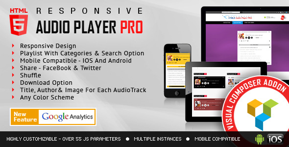 Visual Composer Addon - HTML5 Audio Player PRO for WPBakery Page Builder - CodeCanyon Item for Sale