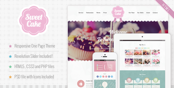 Sweet Cake - Responsive HTML5 One Page Theme - Food Retail