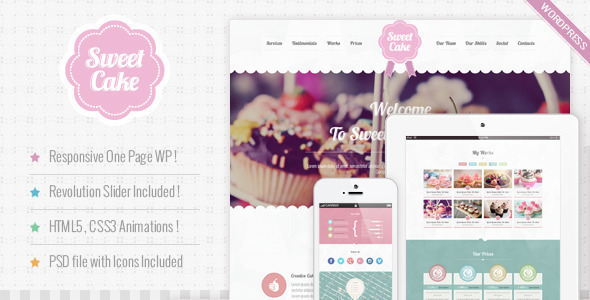 Sweet Cake - Responsive WordPress Theme