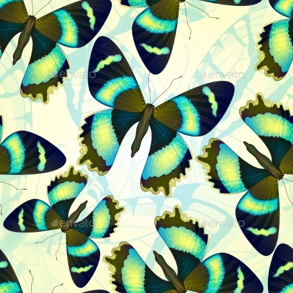 Seamless Pattern With Bright Butterflies. Vector - Patterns Decorative