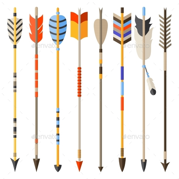 Ethnic Set Of Indian Arrows In Native Style - Religion Conceptual