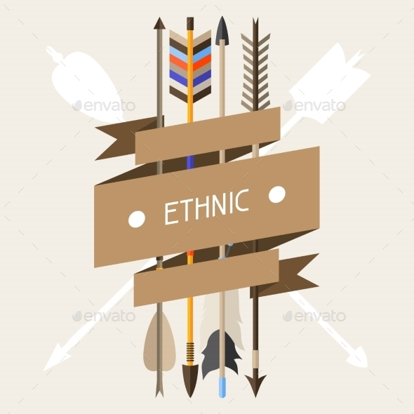 Ethnic Background With Indian Arrows In Native - Religion Conceptual
