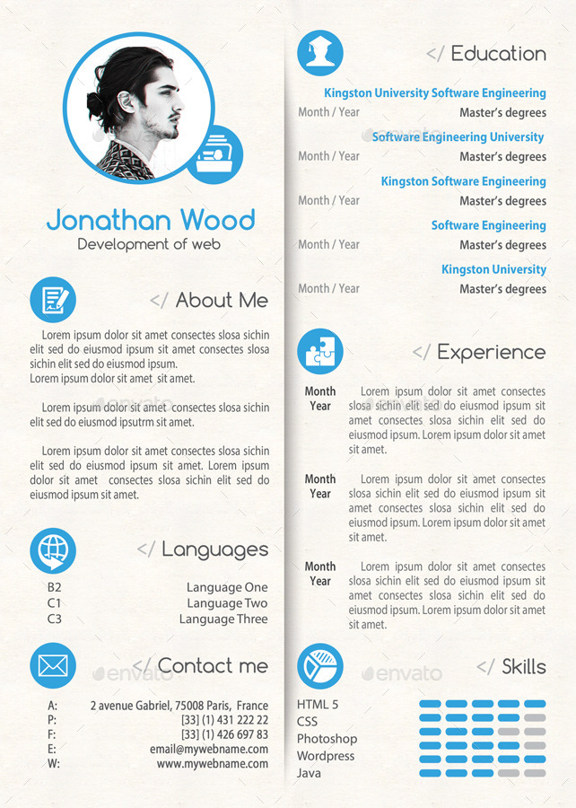 Simple Clean Resume CV Cover Letter Template 01 By 21min