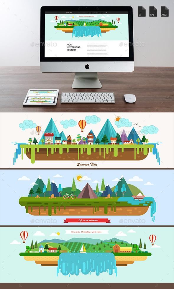 Summer Landscape Banners - Travel Conceptual