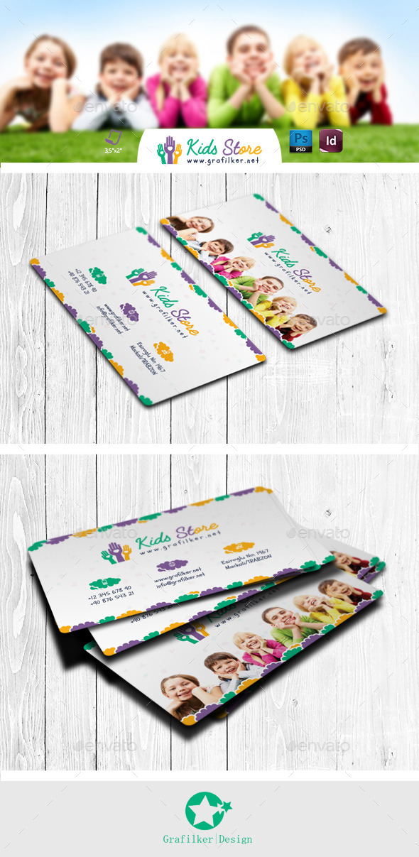Kids Store Business Card Templates by grafilker | GraphicRiver