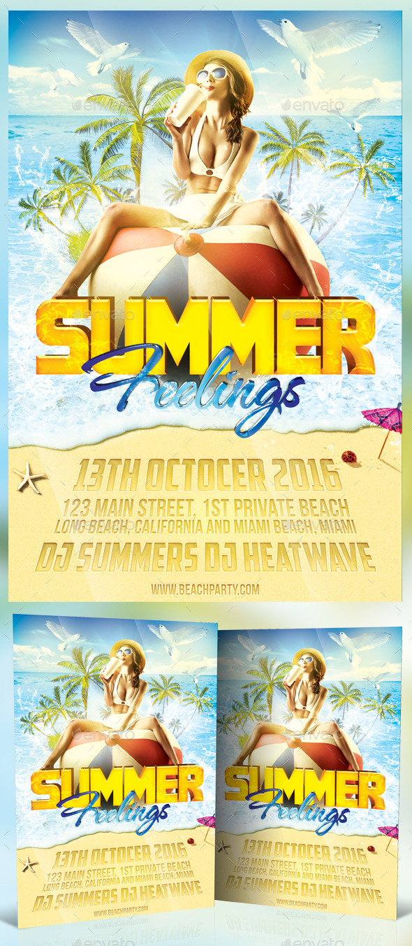 Summer Feelings Flyer Template - Clubs & Parties Events