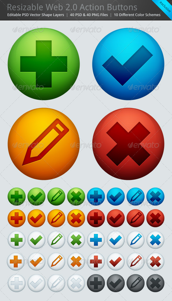 Resizable Web 2.0 Action Buttons - Set of 40 - Buttons Web Elements
