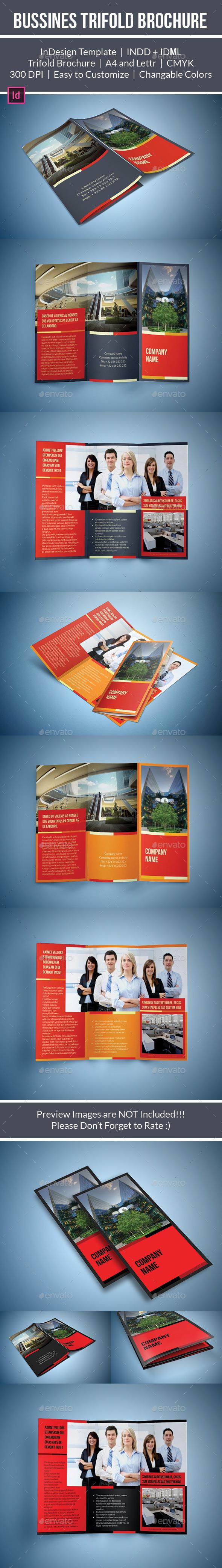 Bussines Tri Fold Brochure Template - Brochures Print Templates