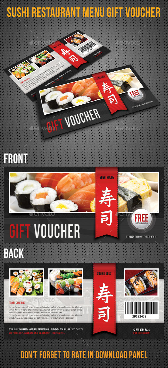 Sushi Restaurant Menu Gift Voucher 04 - Cards & Invites Print Templates