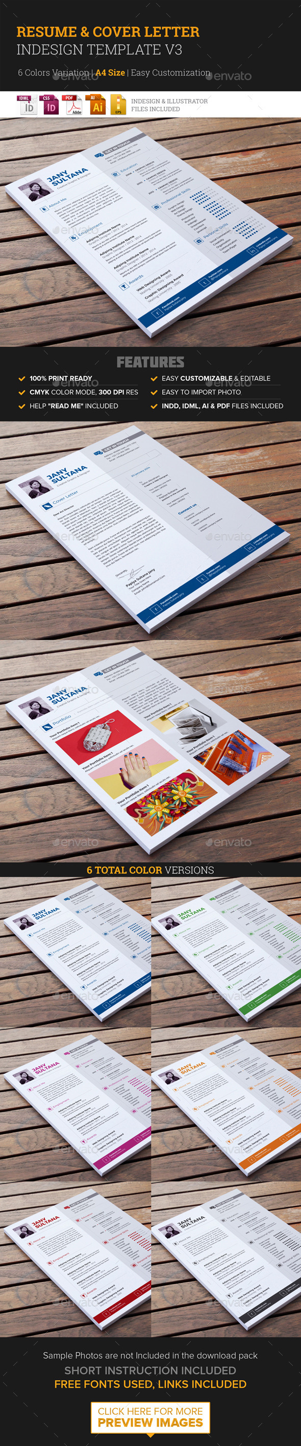 Resume & Cover Letter Template v3  - Resumes Stationery