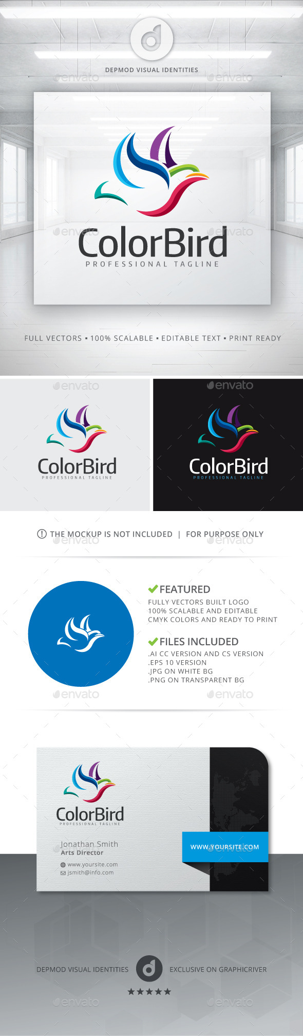 Color Bird Logo - Animals Logo Templates