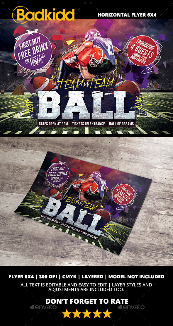 American Football Flyer Horizontal - Sports Events